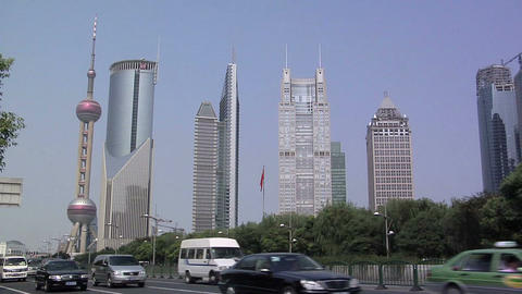 Traffic on Century Avenue with Hi Rise Buildings of Financial District Lujiazui Footage