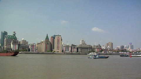 River Boats on the Huangpu River and as Background the Skyline of the Northern P Footage