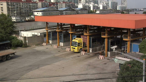 Truck Gate To The Shanghai Container Port In The North Of The City stock footage