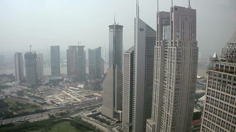 Elevated View of the Hi Rise Financial Buildings in Lujiazui looking South Footage