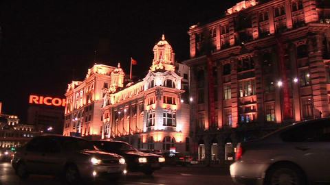 The Bund at Night with Traffic on Zongshan Dong Yilu, Pan to the Right Footage