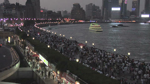 Masses of People visit the Huangpu Riverside Promenade an the National Holiday Footage