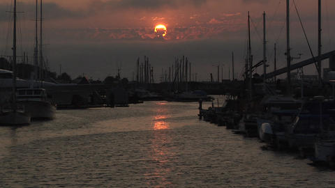 Sunset with Boats in the Harbor of Port Angeles, Washington Footage