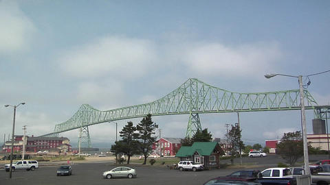 Megler Bridge over the Columbia River between Oregon and Washington Footage