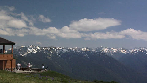 Hurricane Ridge Viewpoint with the Olympic Mountain Range of the Olympic Nationa Live Action
