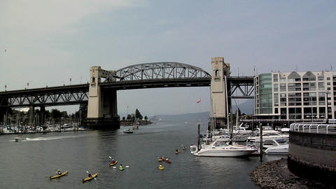 Burrard Bridge and False Creek , Vancouver Footage