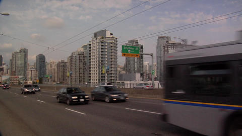 Traffic on Granville Bridge late Afternoon Footage