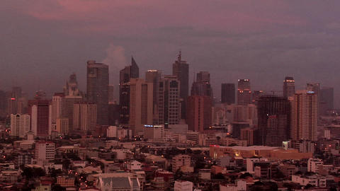 Skyline of Makati at Sunset, Manila, Philippines Live Action