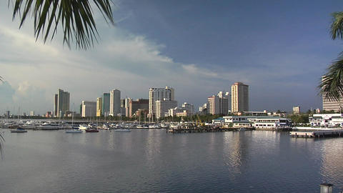 Manila Bay and the Manila Yacht Harbor with the Skyline of Malate, Philippines Footage