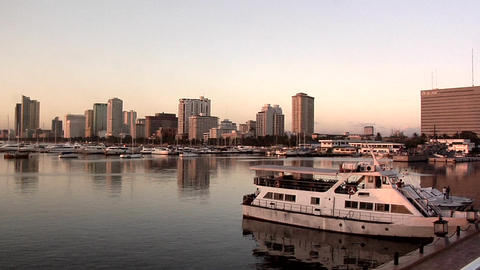 View of Roxas Blvd and Malate High Rise Buildings late Afternoon Live Action
