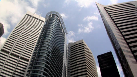 High Rising Buildings of Raffles Place in Singapore Live Action