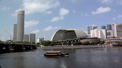 Singapore River with Tourist Boats and the Esplanade Theater Hall, Singapore Footage