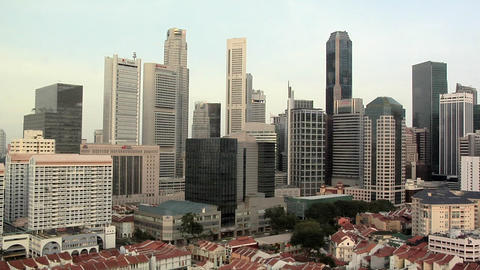 Skyline of Singapore CBD Footage