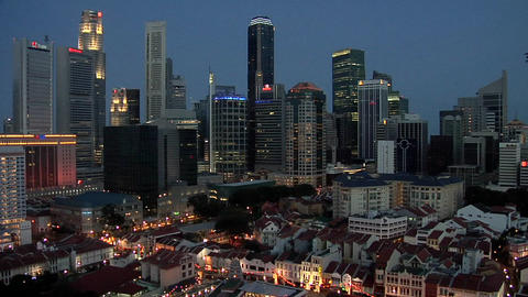 Skyline of Singapore CBD at Night Live Action