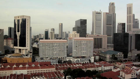 Skyline of Singapore CBD Live Action