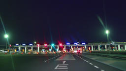 """Night highway drive - Automatic toll collection gate. """"ETC"""" Niiza toll gate Footage"""