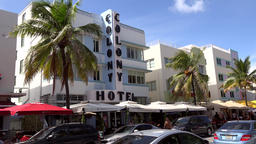 USA Florida Miami Beach famous Art Deco Colony Hotel on Ocean Drive Footage