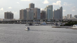 USA Florida Miami evening mood with hotels in Biscayne Bay Footage