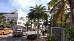 USA Florida Miami Beach intersection in Collins Avenue of Art Deco district Footage