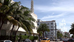 USA Florida Miami Beach street view and traffic on Collins Avenue Footage