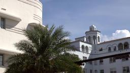 USA Florida Miami Beach Art Deco hotel with a turret in Collins Avenue Footage