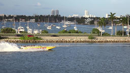 USA Florida Miami speedboat in front of MacArthur Causeway Footage