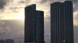 USA Florida Miami two towers of Biscayne Bay in sunset Footage