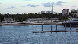 USA Florida Miami vehicle shot from cruise ship along main channel shore Footage