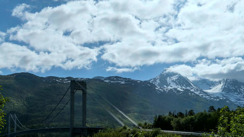 Time lapse footage of suspension bridge across fjord, Norway 영상물
