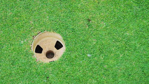 A close up of a golf ball rolling into a hole Footage