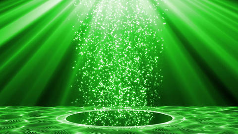 Green background material of particles passing through a circle Animation