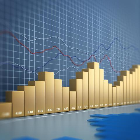 Finance chart 3d rendering フォト