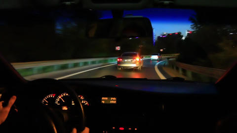 Freeway driving night. Driving from car interior Footage