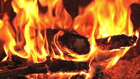 Hot fireplace full of wood and fire with the sound. Fireplace with full of fire Footage