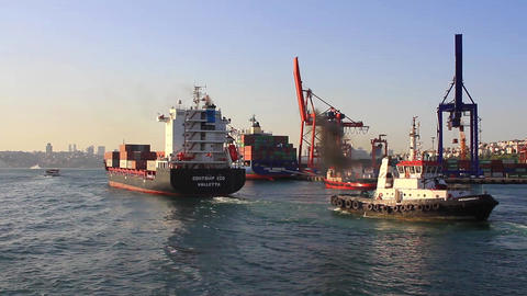 Cargo ship leaving seaport Haydarpasa Footage