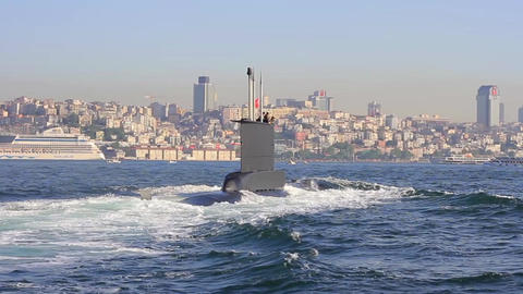 Navy Submarine moving into Bosporus waters. Tracking shot. Riding on the wake of Footage