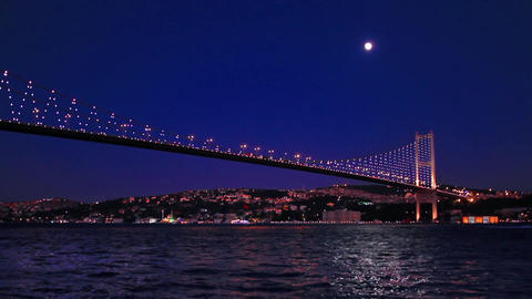 Istanbul, Bosporus seascape with full moon glow shining with the sea. Moon glow Live Action