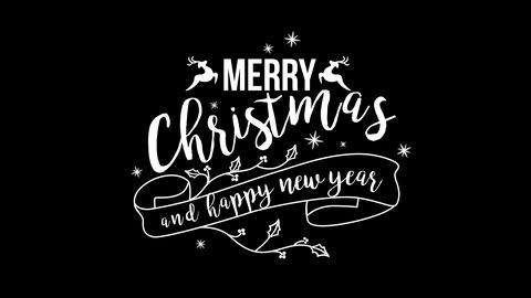 Merry Christmas and Happy New Year animation text label with alpha Animation
