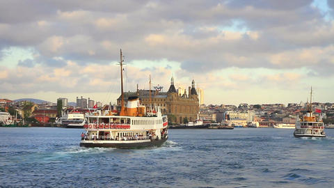 Passenger Ships in front of Haydarpasa Footage