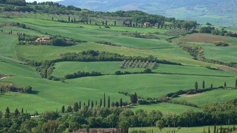 Tuscany panorama of farmland hill fields in Italy Footage