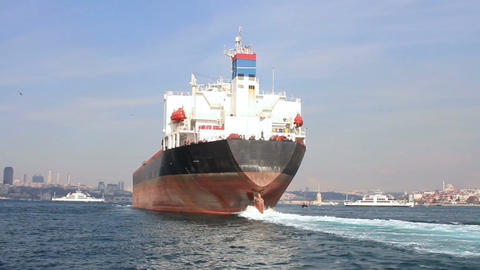 Oil tanker ship on route to Black Sea. Back view of the large tanker ship Live Action