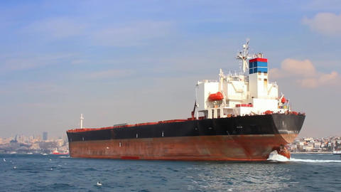 Tanker ship on route to Black Sea. Side view of the large cargo ship. High Footage