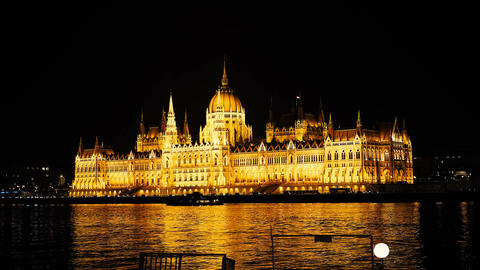 Night time-lapse. Budapest with the Danube and the Parliament building, Hungary Footage