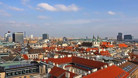 Vienna skyline, Austria. Aerial view of Vienna. Time-lapse. Austria. Vienna Wien Footage