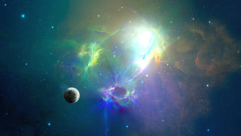 Fly in colorful nebula in space with planet, Elements furnished by NASA 3D Animation