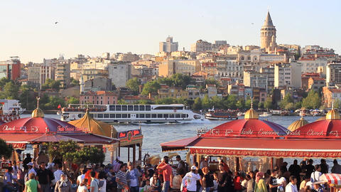 Eminonu Pier looking to Goldenhorn and Galata Tower, Istanbul Footage