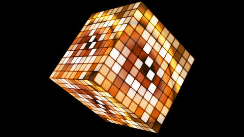 Broadcast Hi-Tech Twinkling Spinning Cube, Golden, Corporate, Alpha Matte, Animation