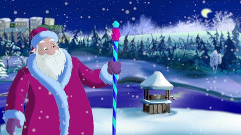 Santa Claus Blowing Snow CG動画素材