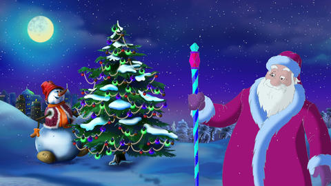Santa Claus Lights a Christmas Tree on the Eve of the Holiday Animation