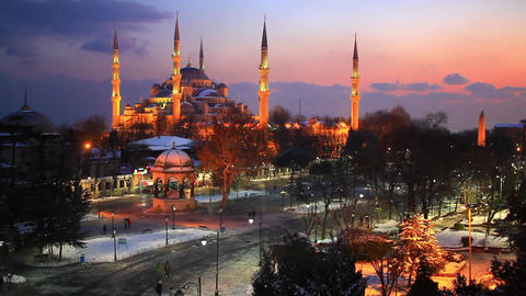 Blue Mosque, Sultanahmet Square at winter sunset Footage
